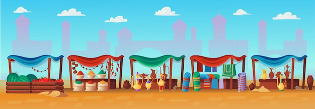 Arabic market. panorama of ancient arab city with houses and the arab market. in cartoon style.