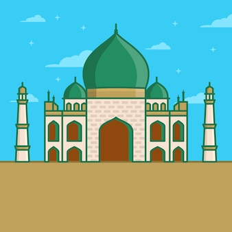 Arabic mosque icon in linear style