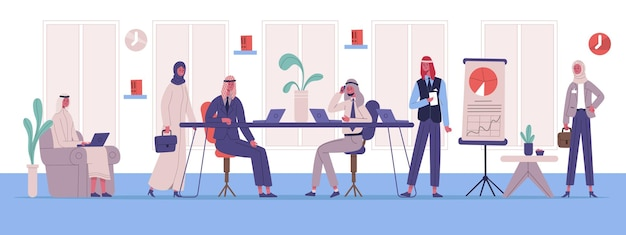 Arabic muslim business office work space colleagues. business team brainstorming, coworking or meeting vector illustration. arabian business characters