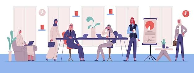 Арабский мусульманский бизнес офисное рабочее место коллеги. мозговой штурм бизнес-команды, коворкинг или встреча векторные иллюстрации. персонажи арабского бизнеса