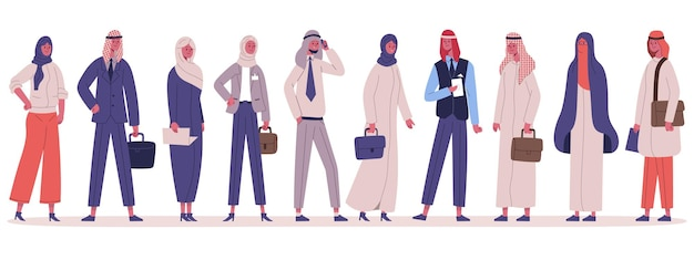 Arabic muslim stylish business people group standing together. male and female business office characters in traditional clothes vector illustration set. arabian business team