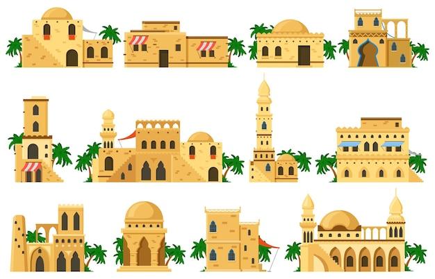 アラビアの東洋の伝統的な泥レンガ建築の建物。イスラム教徒の本物の泥の家、モスク、円形建築、塔のベクトルイラストセット。伝統的なアラビアの古代の家