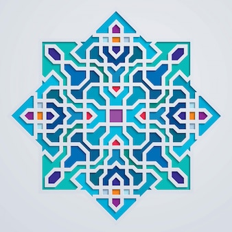 Arabic ornament geometric morocco colorful background