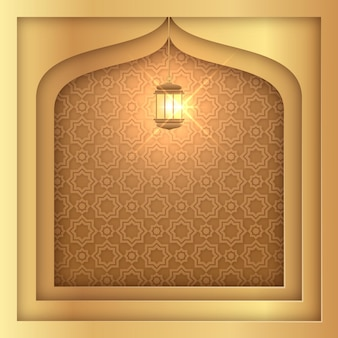 Arabic ornamental background in paper style