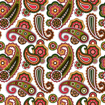 Arabic paisley pattern on white background
