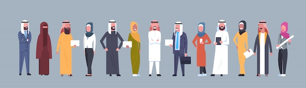 Arabic people group wearing traditional clothes full length arab business man and woman, muslim male and female