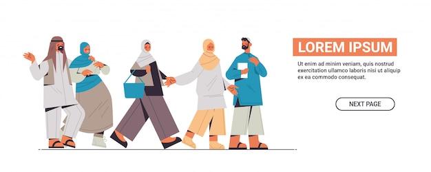 ソーシャルネットワークを放棄する伝統的な服のアラビア語の人々デジタルデトックスコンセプトアラブアラブ男性女性一緒に時間を費やす水平全長コピースペースイラスト