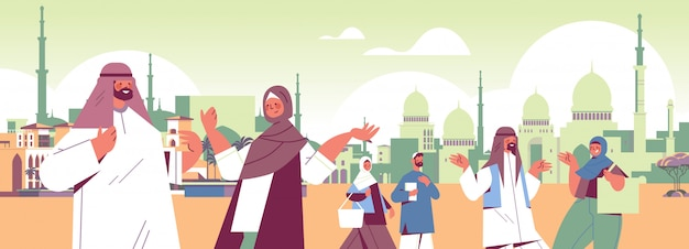 Arabic people in traditional clothes walking outdoor spending time together digital detox concept arab arab men women abandoning social networks cityscape horizontal portrait illustration