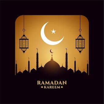 モスクと月とアラビア語のラマダンカリームの背景