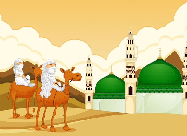 Arabic riding camel to mosque