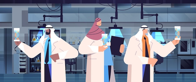 Arabic scientists working with dna arab researchers making experiment in lab dna testing genetic diagnosis