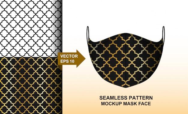アラビア語のシームレスなパターン。フェイスマスクの幾何学的なイスラム装飾デザイン