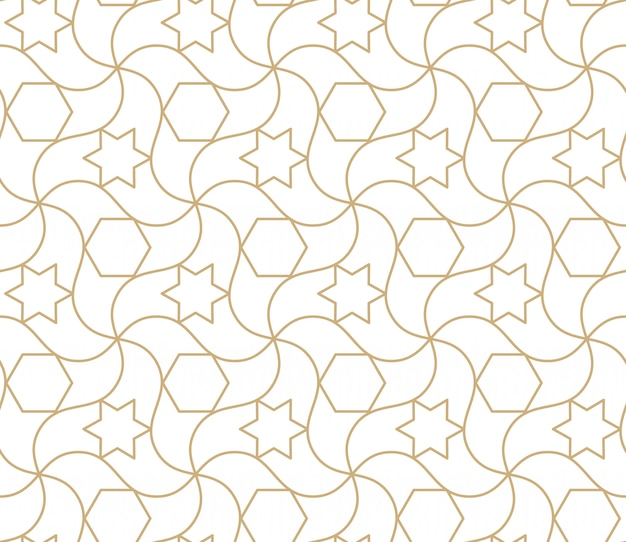 Arabic seamless pattern. islamic geometric abstract background, damask asian wallpaper. antique moroccan gold  repeating texture