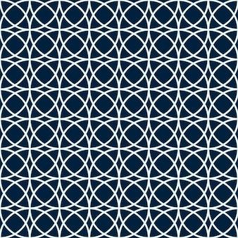 アラビア語のシームレスなパターン。幾何学的形状。白と青の円。シンプルな背景。イスラム教徒のスタイリッシュなデザイン。ベクトルイラスト。