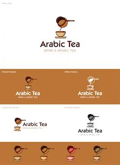 アラビア語のティーロゴ Premiumベクター