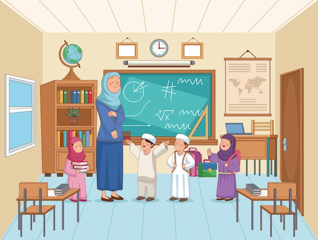 Arabic teacher with students characters