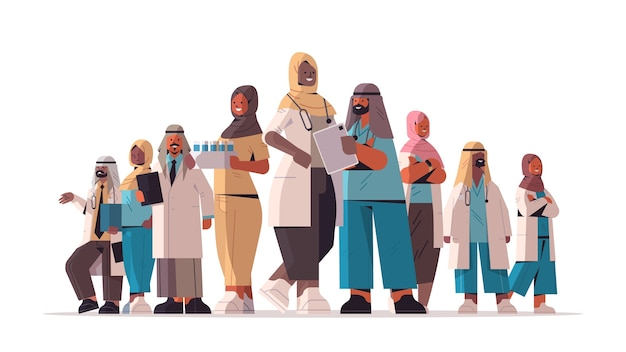 Arabic team of medical professionals discussing during meeting arab doctors standing together medicine healthcare concept horizontal full length vector illustration