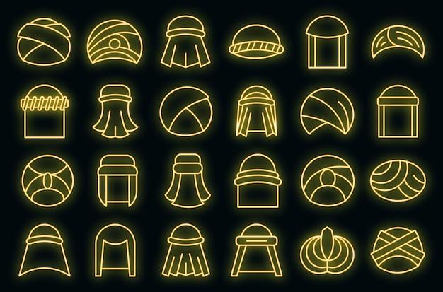 アラビア語のターバンアイコンは、アウトラインベクトルを設定します。アラブの帽子アクセサリー。オリエンタルターバン
