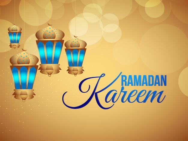 ラマダンカリームイスラム祭と背景のアラビア語ベクトルランタン