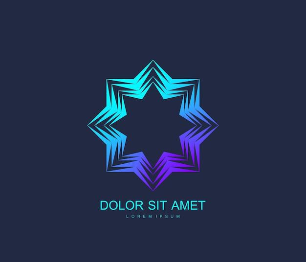 아랍어 벡터 로고 디자인 서식 파일 스타일입니다. 추상 이슬람 상징입니다. 고급 제품, 부티크, 보석, 동양 화장품, 호텔, 레스토랑, 상점 및 상점의 상징. 프리미엄 벡터