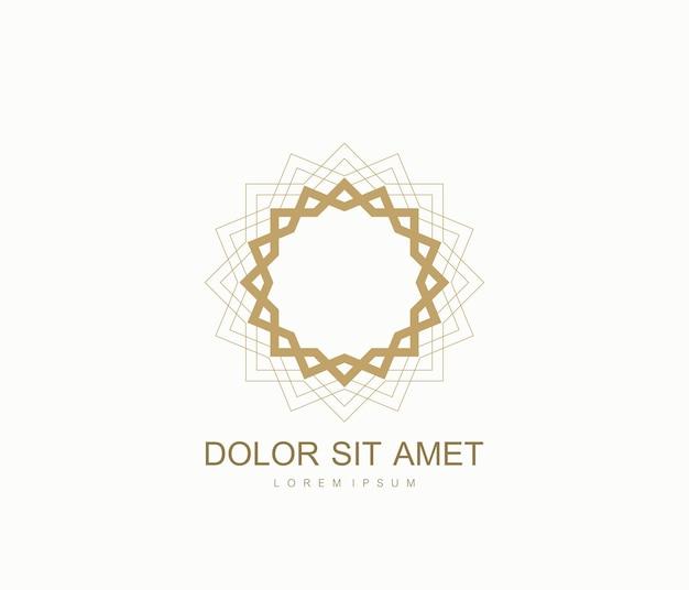 아랍어 벡터 로고 디자인 서식 파일 스타일입니다. 추상 이슬람 상징입니다. 고급 제품, 부티크, 보석, 동양 화장품, 호텔, 레스토랑, 상점 및 상점의 상징.