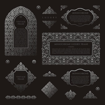 Arabic vector set frames muslim black outline elements