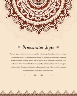 Arabic wedding invitation card template with mandala