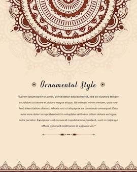 Arabic wedding invitation card template with mandala Premium Vector