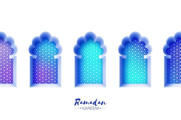 ペーパーカットスタイルのアラビア窓アーチ。折り紙ラマダンカリームグリーティングカード。