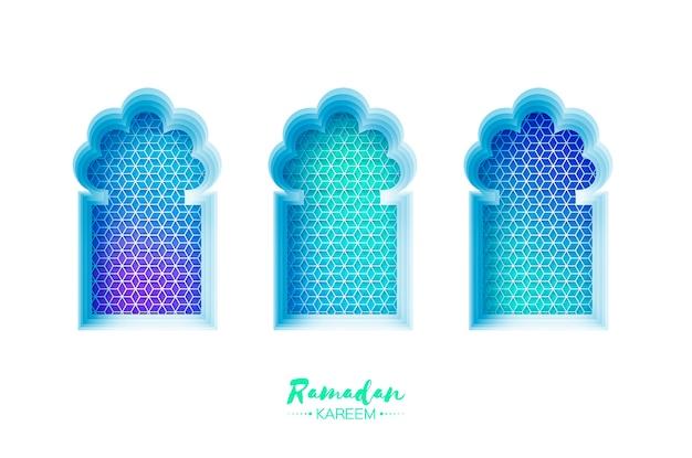 ペーパーカットスタイルのアラビア窓アーチ。折り紙ラマダンカリームグリーティングカード