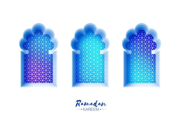 Arabic window arch in paper cut style. origami ramadan kareem greeting card.