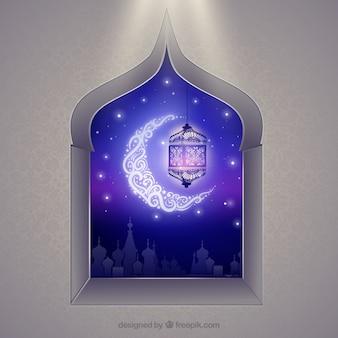 Arabic window with crescent moon
