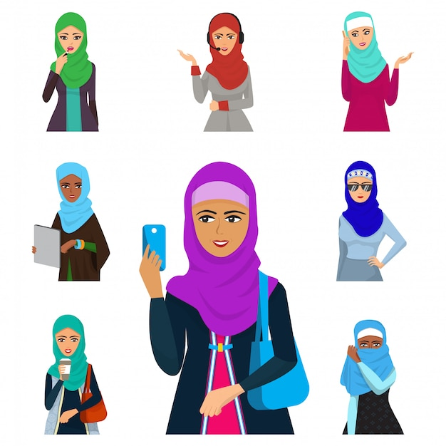 Arabic woman adult character arabian asia nationality islamic girl face in hijab  illustration