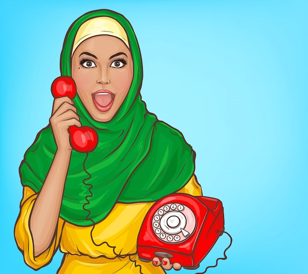 Arabic woman in hijab with vintage dial phone cartoon illustration