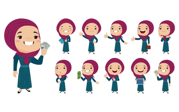 Arabic women in different actions
