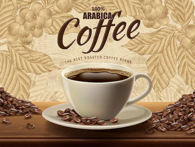 Arabica coffee ads, realistic black coffee and beans in  illustration with retro coffee plants and field scenery in etching shading style