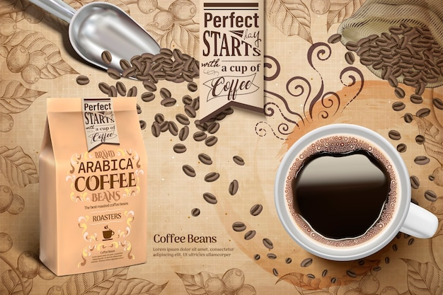 Arabica coffee beans ads, cup of black coffee and paper bag package in  illustration, retro engraving coffee plants elements