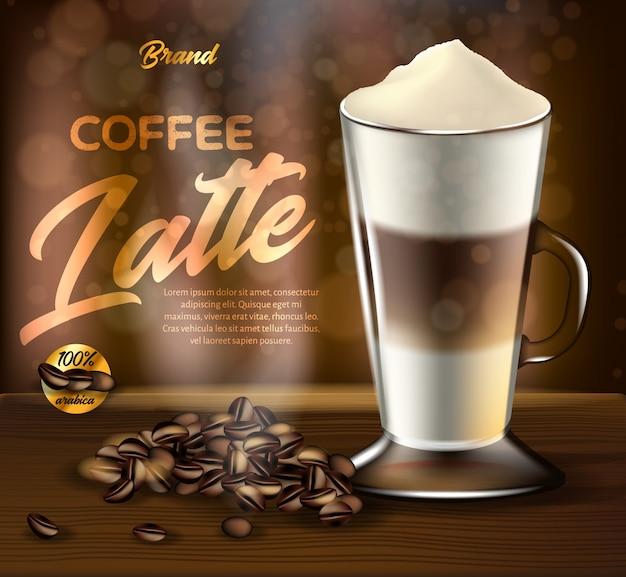 Arabica coffee latte promo banner, drink glass