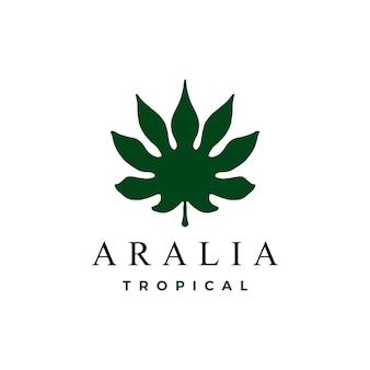 Логотип листьев аралии, изолированные на белом фоне