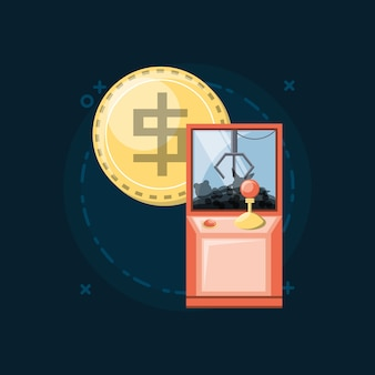 Arcade claw machine and coin icon