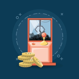 Arcade claw machine and coins icon