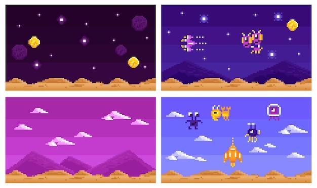 Аркадный компьютерный игровой набор горизонтальных композиций