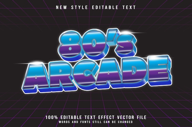 Arcade editable text effect emboss 80s style