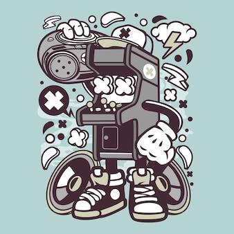 Arcade game boombox cartoon