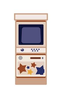 アーケードゲームキャビネットフラットベクトルイラスト。従来の自動ゲーム機。白い背景で隔離のヴィンテージ娯楽機器。コントロールパネル付きのレトロなアミューズメント機器。