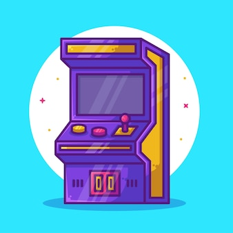 Arcade game cartoon illustration isolated video game logo vector icon illustration in flat style