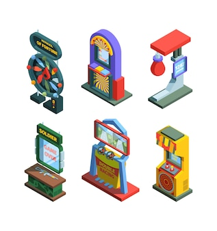 Arcade game machine isometric trainers set. gaming machine devices for checking strength good luck with fixtures joysticks and screen colorful retro electronic consoles stationary.