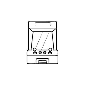アーケードゲーム機の画面手描きのアウトライン落書きアイコン。レトロなアーケードマシン、ゲーム機のコンセプト