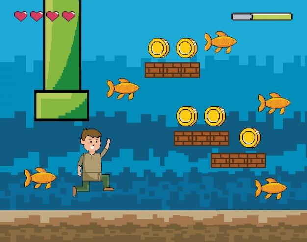 Аркадный игровой мир и пиксельная сцена Бесплатные векторы
