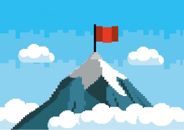 아케이드 게임 세계 및 픽셀 장면